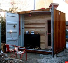 SaunaBox - a shipping container sauna with a difference. See how a used shipping container was converted into a self-sufficient sauna with a few surprises. Diy Sauna, Shipping Container Home Designs, Container House Design, Shipping Containers, Shipping Boxes, Mobile Sauna, Outdoor Sauna, Indoor Outdoor, Sauna Design