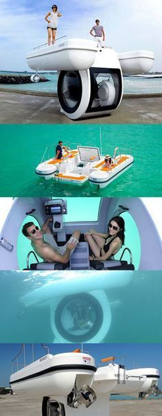 """This is pretty cool! enjoy the view above and below the water! SPD-Smartglass gives you your view back. smartglass.com EGO-SE 450 """"Penguin"""", a Personal Semi-Submarine Boat"""