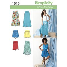 """misses' yoked skirts. knit a, b, c are flared in maxi length or with hi-low hem   or straight in knee length with ruching. woven d, e with bias cut yoke and elastic waist are gathered in maxi or above knee   length.<p></p><img src=""""skins/skin_1/images/icon-printer.gif"""" alt=""""printable pattern"""" /><a   href=""""#"""" onclick=""""toggle_visibility('foo');"""">printable pattern te..."""