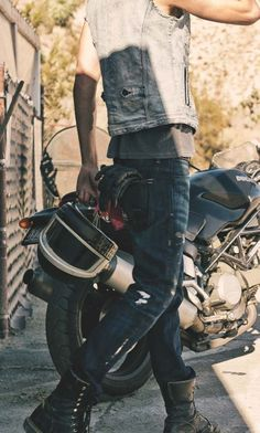 Please own a motorcycle so we can ride off to foreign places!!! So sexy....match with great bad boy clothes! ;)