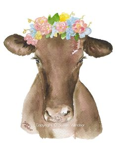 Brown Cow with a Floral Crown  5 x 7  Watercolor Painting