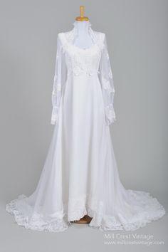 1970 Empire Lace Vintage Wedding Gown : Mill Crest Vintage