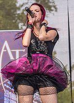 Alia Tempora band on summer festival Made of Metal.  #aliatempora #fans #summer #festival #stage #onstage #live #femalefronted #female #rock #metal #music #musicians #czech #singer #pink #tutu #skirt #leather #shorts #clothes #dress #markéta #morávková