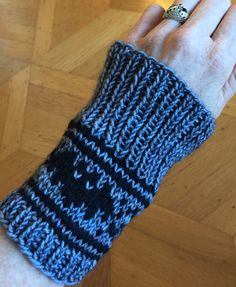 Free Knitting Pattern for Bat Fingerless Mitts - Gone Batty: Simple Fair Isle Wristwarmers feature bat motif. Designed by Art Fiend. Pictured project by Lixivia