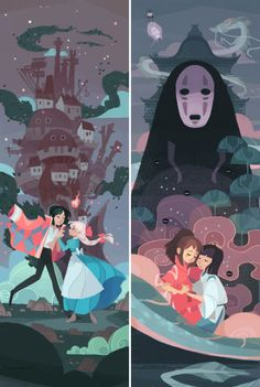 My two favorites. Howls Moving Castle and Spirited Away
