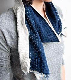 DIY ombre stitched scarf