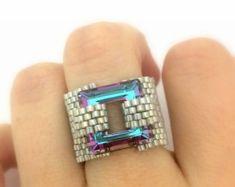 ** Peyote Bead Weaving Swarovski  Crystals Beaded Ring  @Ranitit