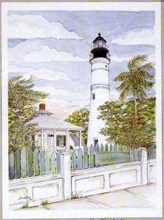 "Artist JOHN ANZEL New Haven Original Drawing /""LIGHTHOUSE CT./"" PRINT from CT"
