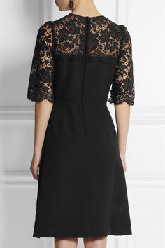 Dolce & Gabbana|Heritage lace-trimmed crepe dress|NET-A-PORTER.COM