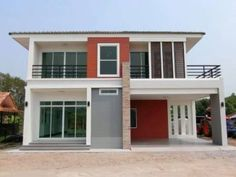 Two Storey House on 149 Square meters Floor Area - House And Decors Bungalow House Design, Modern Bungalow, Small House Design, Modern House Design, Double Storey House Plans, One Storey House, One Floor House Plans, Duplex House Plans, Garage House