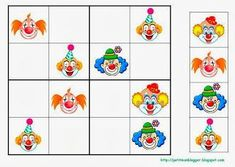 Sudoku Preschool Education, Kindergarten Activities, Preschool Crafts, Activities For Kids, Theme Carnaval, Clown Crafts, Blog Backgrounds, Sudoku Puzzles, Circus Theme