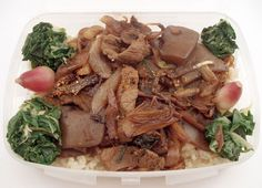 Bento - Beef and Onions, Rice, Blanched Greens, Radishes