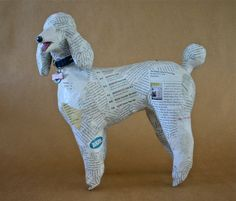 French Poodle Unique OneofaKind Whimsical Paper Mache by PaperPort