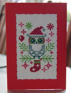 Completed Cross-stitch Christmas Card - Owl - Red | eBay