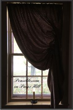 Peaseblossom on Paige Hill ~ Colonial Early American Primitive Family Heirloom Weavers Angstadt #113 Festoon Curtain in Brown Primitive Curtains, New England Homes, Early American, Colonial, Windows, Brown, House, Ideas, Home Decor
