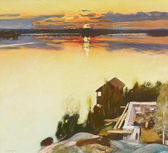 "huariqueje: "" Sunset at Lake Tuusula - Pekka Halonen 1902 Finnish "" Nordic Art, Scandinavian Art, Nocturne, Landscape Art, Landscape Paintings, Landscapes, Romanticism Paintings, Color Of Night, Nordic Lights"