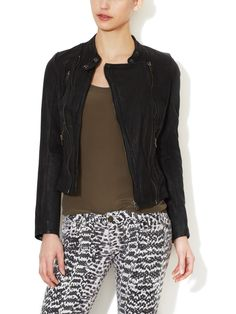 Robbie Leather Jacket from Maje on Gilt
