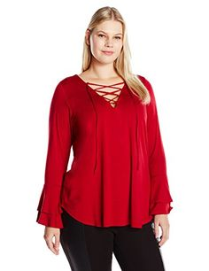 480c1cfba72 Karen Kane Women s Plus Size Flare Sleeve Lace-up Top at Amazon Women s  Clothing store