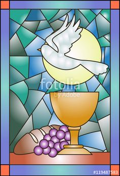 Stained Glass clipart holy mass - pin to your gallery. Explore what was found for the stained glass clipart holy mass First Communion Banner, Première Communion, First Holy Communion, Stained Glass Church, Stained Glass Quilt, Faux Stained Glass, Church Banners Designs, Jesus Painting, Religious Paintings