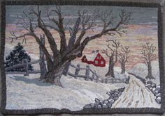 """RUG HOOKING DAILY """"December Snows"""" hand hooked by Lynn Dietz — (just great shadows & light & wintery sunset ove Rug Hooking Designs, Rug Hooking Patterns, Santa And His Reindeer, Punch Needle Patterns, Latch Hook Rugs, Hand Hooked Rugs, Landscape Quilts, Penny Rugs, Traditional Rugs"""