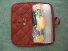 potholder and plastic bags make for a travel size sewing kit, coupon book, mini first aid kit, jewelry travel bag; would make a good stocking stuffer