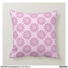 Pink flower pattern throw pillow Pink Cushions, Flower Pillow, Decorative Cushions, Custom Pillows, Party Hats, Flower Patterns, Pink Flowers, Art Pieces, Throw Pillows