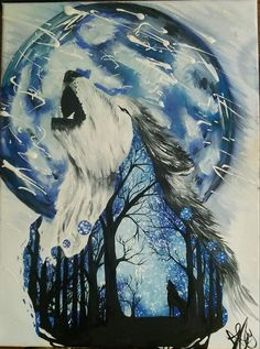 I would personally leave the moon out if the backround Cute Animal Drawings, Cute Drawings, Wolf Artwork, Wolf Painting, Wolf Wallpaper, Wolf Pictures, Wolf Spirit, Amazing Drawings, Cool Paintings