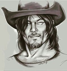 Amazing artwork of Norman Reedus, artist signed