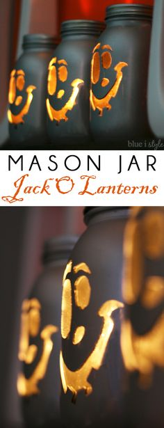 LOVE THESE! Turn mason jars into a modern version of Halloween Jack O'Lanterns! Full tutorial with helpful tips!