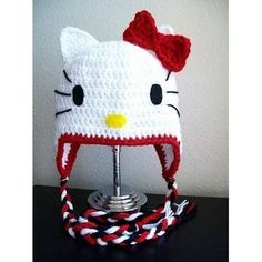Hello Kitty Hat with optional Earflaps, CROCHET PATTERN, 7 sizes