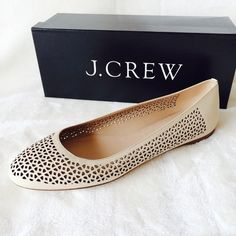"""J. Crew Nora Ballet Flats Nude leather Perforated ballet flats. Brand new with box. True to size. The color is called """"chalk"""" but is definitely a light nude beige with neutral undertones. J. Crew Shoes Flats & Loafers"""