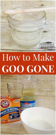 How to Make a Homemade Goo Gone Substitute from household ingredients. This goo remover is perfect for removing price tags, stickers, and adhesive residue from labels. Make this frugal goo gone with items in your pantry.