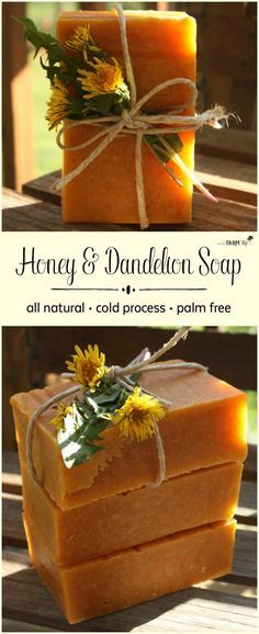 Honey & Dandelion Soap Recipe This cold process natural soap recipe is loaded with fresh dandelions from our fields, raw honey from our bee hives and organic tamanu oil - making it especially useful for those with persistent skin conditions. Make Natural, Natural Soaps, Best Natural Soap, Natural Candles, Natural Oil, How To Make Oil, Honey Soap, Wie Macht Man, Soap Making Supplies