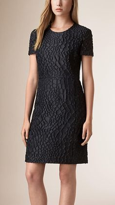 Burberry Navy Technical Silk Fil Coupé Shift Dress - A technical silk fil coupé shift dress woven in Italy with a textured scale pattern. The lightweight design is cut for a straight fit. Discover the women's dress collection at Burberry.com
