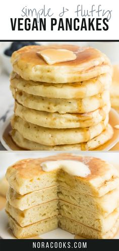 Pancakes Végétaliens, Best Vegan Pancakes, Vegan Pancake Recipes, Delicious Vegan Recipes, Vegan Desserts, Cooking Recipes, Gluten Free Pancake Recipe Easy, Gluten Free Vegan Pancakes, Fluffy Pancakes