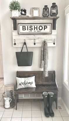 I finally completed this entryway shelf/hooks for my foyer (totally inspired by a post I saw on Pinterest). Be sure to check out my Facebook page: https://m.facebook.com/luvleecreations/