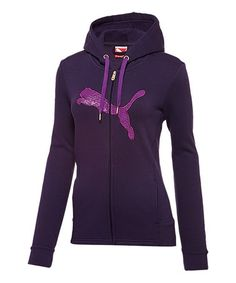 Take a look at this Blackberry Cordial Hooded Full-Zip Track Jacket by PUMA on #zulily today!