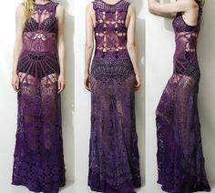 Crochet Dress VINTAGE LACE Spiderweb Purple OMBRE por cruxandcrow