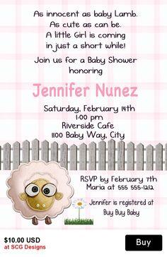 Lamb Baby Shower Invitation-1 Sided