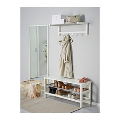IKEA - TJUSIG, Bench with shoe storage, white, Holds a min. Coordinates with other products in the TJUSIG series. Shoe Storage White, Bench With Shoe Storage, Ikea Storage, Small Storage, Storage Spaces, White Shoe Rack, Ikea Tjusig, Ikea Hallway, Entryway Bench Ikea