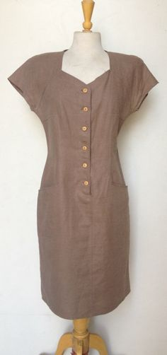 80's Taupe Canvas Dress