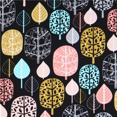 black leaf fabric 'Acorn Forest' Sorbet by Robert Kaufman 1