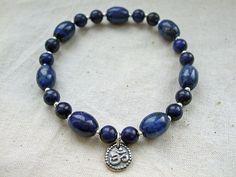Shakti - Silver Om or Aum Charm Bracelet with Lapis Lazuli. Elasticated Yoga Bracelet.