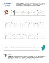 Uppercase M letter tracing worksheet, with easy-to-follow arrows showing the proper formation of the letter.