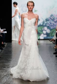 monique lhuillier - wedding dress - bridal - collection - fall 2012 - emma - white re-embroidered lace strapless asymmetric modified a-line gown with tulle inset skirt