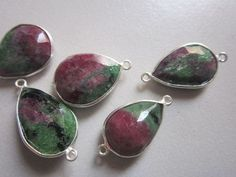 NATURAL  RUBY ZOSITE PEAR STERLING SILVER 5 PCS CONNECTORS  14X18MM TO 13X17MM 64.50CTS