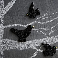 Beady-eye blackbirds aren't so menacing when they're Halloween treats! Click through for more family-friendly Halloween treats: http://www.bhg.com/halloween/recipes/halloween-treats-kids-can-make/?socsrc=bhgpin102814blackbirdsugarcookies&page=18