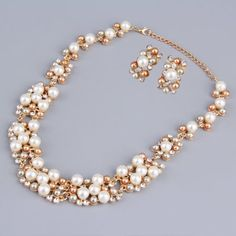Party Wedding Handcrafted Bridal Bridal Imitation Pearls Alloy Necklace Pendant Earring Set Jewelry Sets Women Gift #bridaljewelry