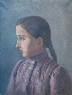 Alphonse Mucha - Portrait of Mucha's Sister, Angela (c.1880)