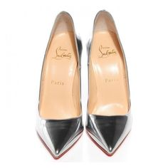CHRISTIAN LOUBOUTIN Metallic Leather So Kate 120 Pumps 36 Silver ❤ liked on Polyvore featuring shoes, pumps, silver leather pumps, pointy-toe pumps, stiletto pumps, silver pointed toe pumps and pointed-toe pumps